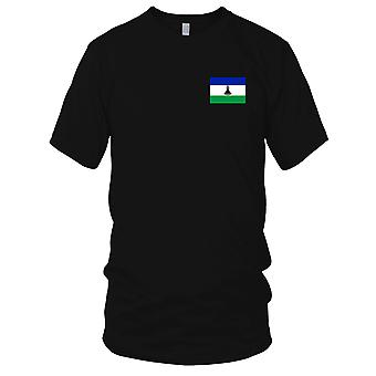 Lesotho land nationale Flag - broderet Logo - 100% bomuld T-Shirt Herre T-shirt