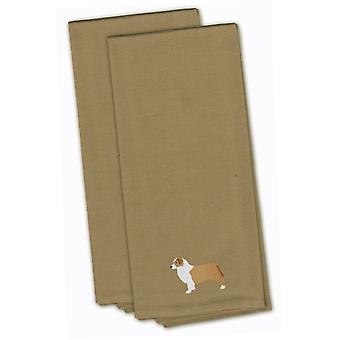 Australian Shepherd Dog Tan Embroidered Kitchen Towel Set of 2