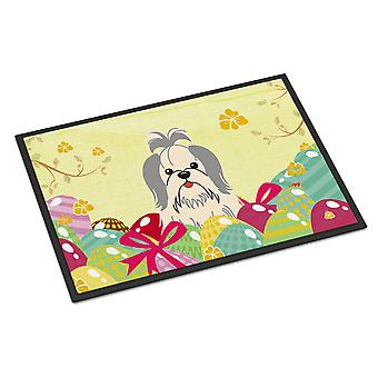 Easter Eggs Shih Tzu Silver White Indoor or Outdoor Mat 18x27