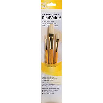 Real Value Brush Set Natural Bristle Round 3, Flat 4,8 P9103