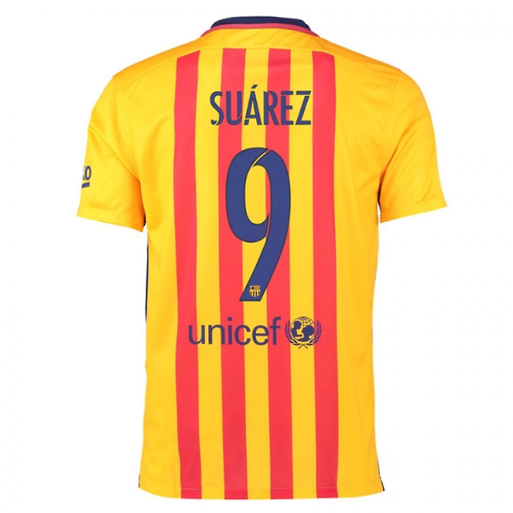 2015-16 Barcelona Away Shirt (Suarez 9) - Kids