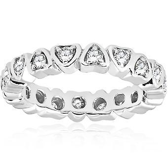 1 / 2ct corazón forma eternidad anillo 14K oro blanco
