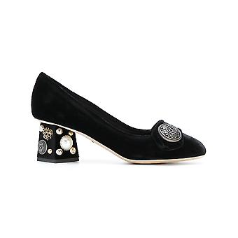 Dolce E Gabbana women's CD0818AM40880999 black velvet pumps