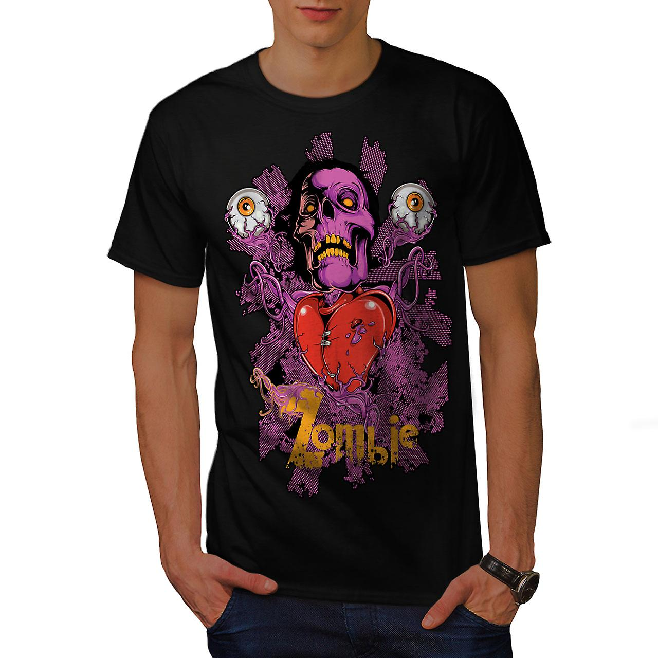 Badass Heart Eye Zombie Men Black T-shirt | Wellcoda