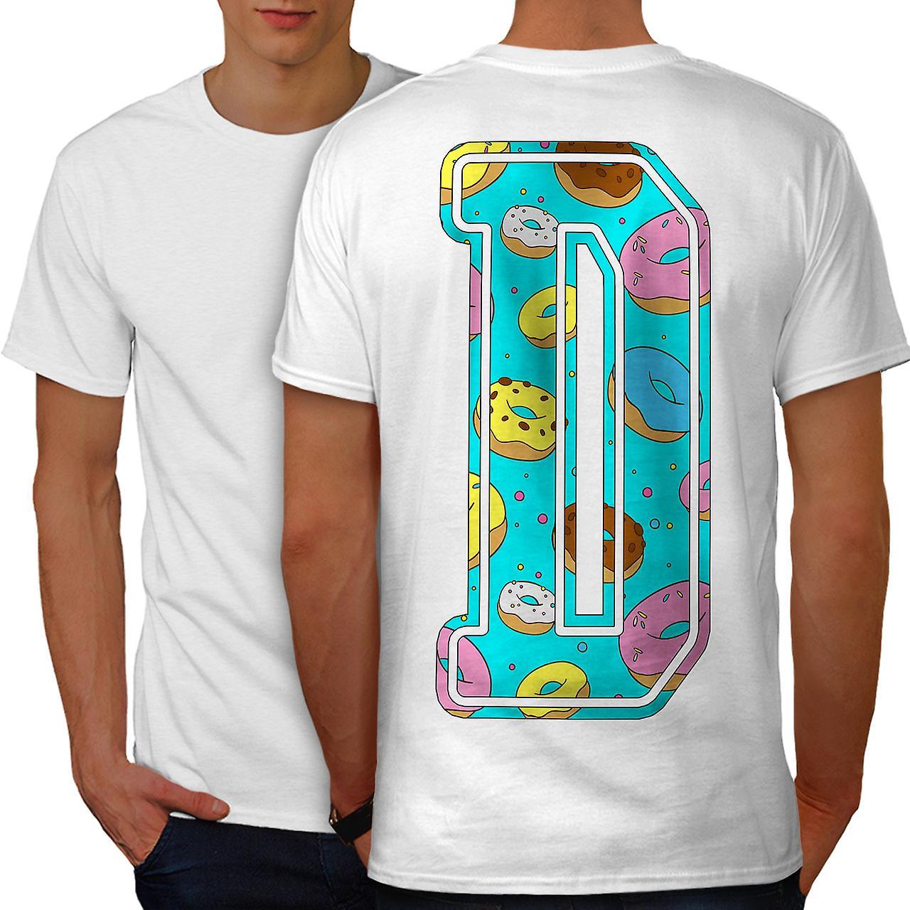 Letter D Donut Fashion Men White T-shirt Back | Wellcoda