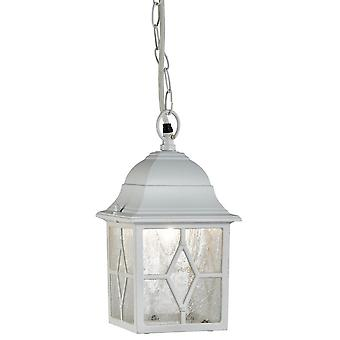 Traditional Outdoor White Ceiling Pendant Lantern with Cathedral Lead Glass