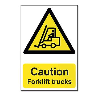 ASEC Highly Visible `Caution: Forklift Trucks` Sign 200mm X 300mm