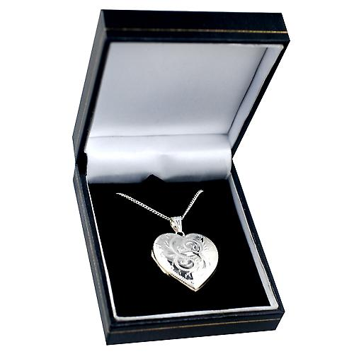 Silver 30x28mm engraved heart shaped Locket with a curb Chain 20 inches