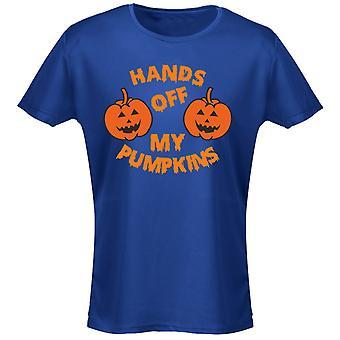 Hands Off Pumpkins Costume Fancy Dress Halloween Womens T-Shirt 8 Colours (8-20) by swagwear