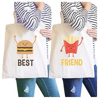 Hamburger et frites BFF correspondant toile sacs naturel coton lourd