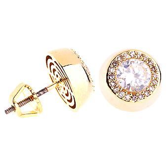 Iced out bling micro pave earrings - CENTER 10 mm gold