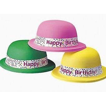 12 Neon 'Happy Birthday' Bowler Party Hats | Kids Birthday Party Hats