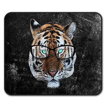 Tiger Hipster Wild Animal  Non-Slip Mouse Mat Pad 24cm x 20cm | Wellcoda