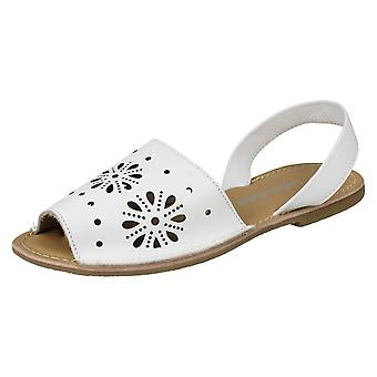 Ladies Leather Collection Flower Design Mules F00144 - White Leather - UK Size 5 - EU Size 38 - US Size 7