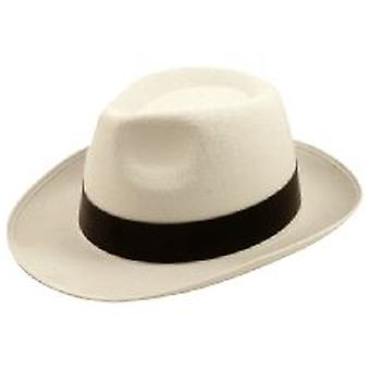 Felt Gangster Hat White with Black Band