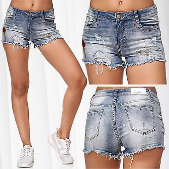 Ladie's Jeans Shorts Hot Pants Bermuda Casual Summer Embroidered Decorated