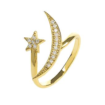 Latelita Ring Midi Stacking Moon Stars Sterling Silver Gold Star CZ White