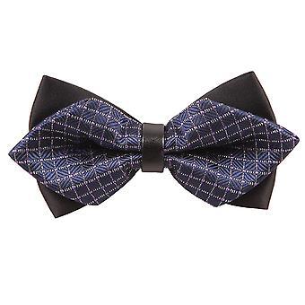 Blu navy & bianco griglia grande diamante punta Bow Tie