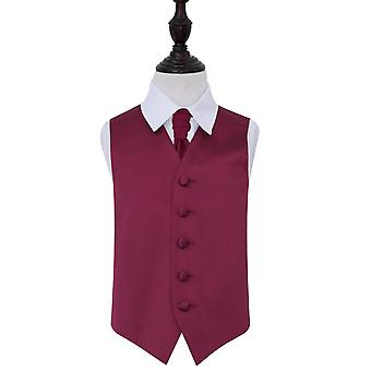 Burgundy Plain Satin Wedding Waistcoat & Cravat Set for Boys