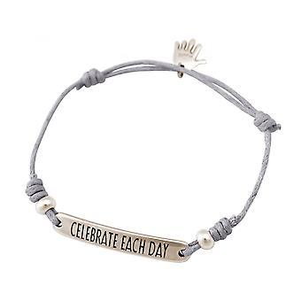 Women - bracelet - engraved - CELEBRATE EACH DAY - silver - light grey