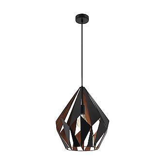 Eglo カールトン幾何学的な黒と銅の素朴なペンダン トランプ