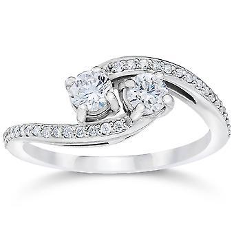 1/2 карат 2 навсегда камень, нас алмаз обручальное кольцо из белого золота