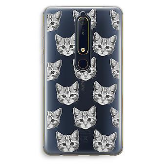 Nokia 6 (2018) Transparent Case (Soft) - Kitten