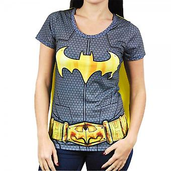 Batman Womens Batman Superhero Costume T Shirt With Cape Black