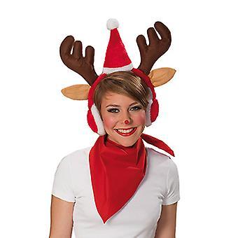 Alces diadema orejeras y gorro de Navidad