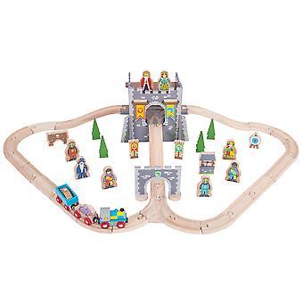 Bigjigs trein houten middeleeuwse Track Play treinset met accessoires compatibel
