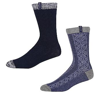 Ben Sherman Men's 2 Pack Thick Boot Socks Denim Grey Pattern Billycan