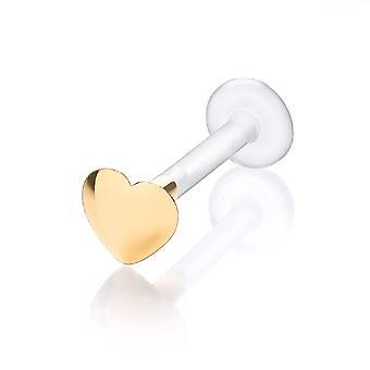 Labret Bar Stud Monroe, Tragus Piercing Bioflex, 9 ct Yellow Gold Puff Heart