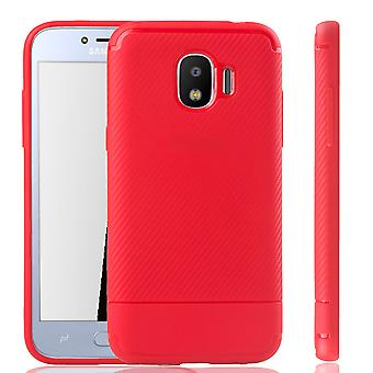 Capa de celular Samsung Galaxy J2 Pro Schutzcase carbono-olhar vermelho para-choque