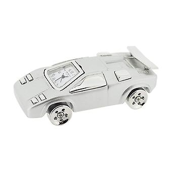 Miniature Classic Sport Car Analogue Silvertone Novelty Clock Collectors 9002