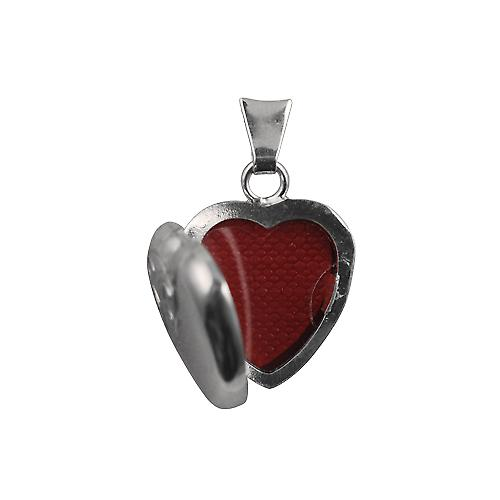Silver 17x16mm half hand engraved heart shaped Locket