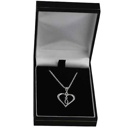Silver 18x18mm initial O in a heart Pendant with a rolo Chain 14 inches Only Suitable for Children