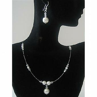 Невесты прозрачный Swarovski кристаллы белый жемчуг ювелирные изделия ручной работы