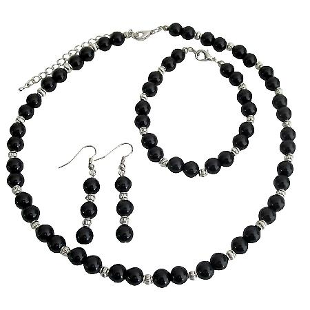 Alluring Jewelry Black Pearls And Silver Spacer Wedding Jewelry Set
