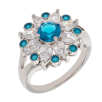 Bertha Juliet Collection Women's 18k WG Plated Light Blue Floral Statement Fashion Ring Size 6