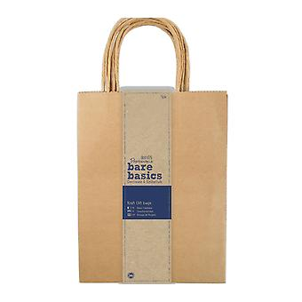 5 Papermania Large Natural Brown Kraft Gift Bags - Recycled Style