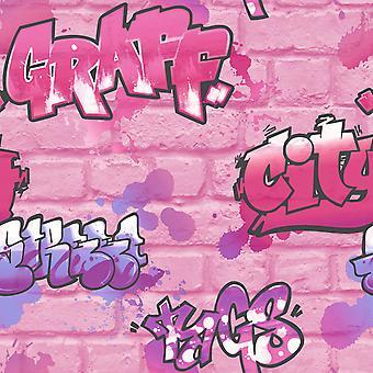 Les filles Graffiti rose fond d'écran Glitter Spray peinture en relief pour enfants chambre urbaine