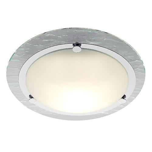 Searchlight 2411CC Modern Bathroom Flush Light With Watermarked Glass Trim