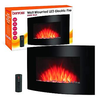 Benross LED Wall Mounted Electric Fire Heater 2000 Watt With Remote Control