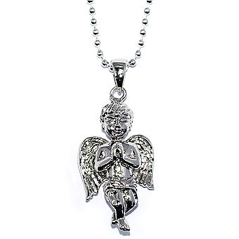 Silver Plated Mini Angel Piece with 30 inch Ball chain Necklace High Quality