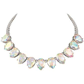 Eternal Collection Seduction Teardrop Aurora Borealis Crystal Silver Tone Fashion Necklace