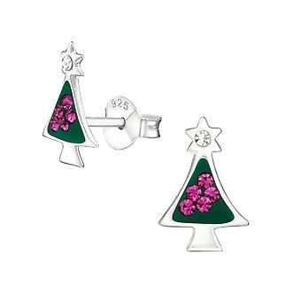 Christmas Tree - 925 Sterling Silver Crystal Ear Studs - W17595X