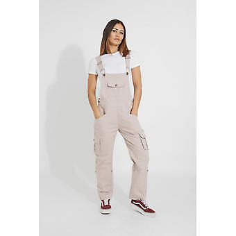 Daisy womens cotton dungarees - beige