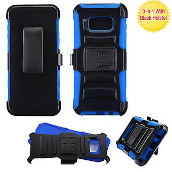 ASMYNA Black/ Blue Advanced Armor Stand Protector Cover w/ Holster  for Galaxy S8 Plus