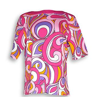 Denim & Co. Women's Top Printed Boat Neck Elbow Sleeve Pink A291646