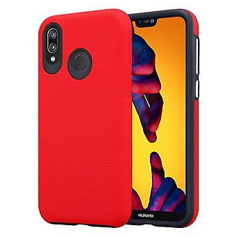 Cadorabo Case for Huawei P20 LITE Case Cover - Outdoor Phone Case with Extra Grip Anti Slip Surface in Triangle Design made of silicone and plastic - Protective Case Hybrid Hardcase Back Case